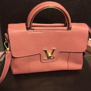 Maroon top handle bag